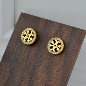 Tory Burch Stylish Zircon Logo Disc Earrings